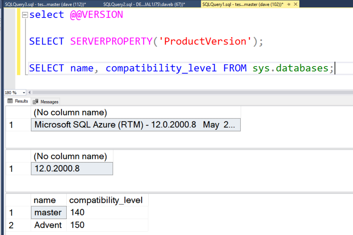 Azure SQL DB and @@version – Dave Bland