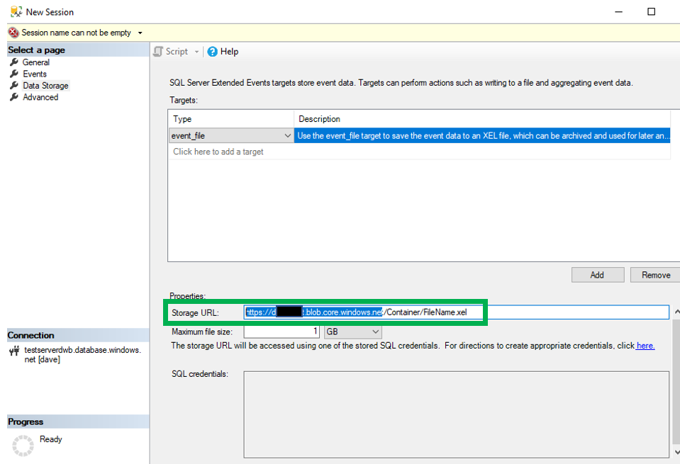 Reading Extended Event Files for an Azure SQL Database in a